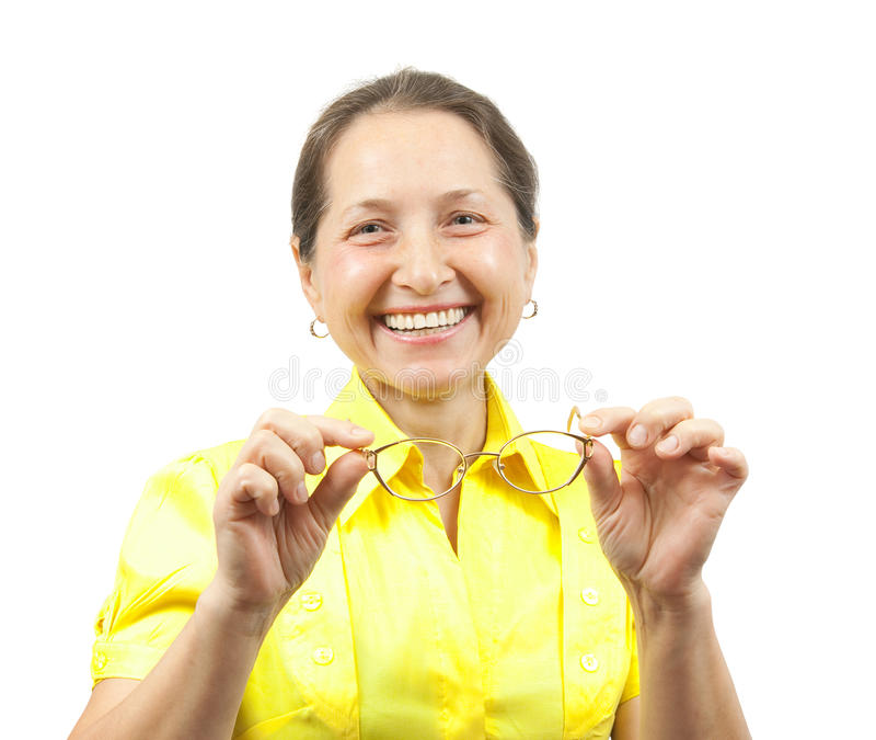 Ώριμη γυναίκα με τα γυαλιά στοκ φωτογραφίες με δικαίωμα ελεύθερης χρήσης