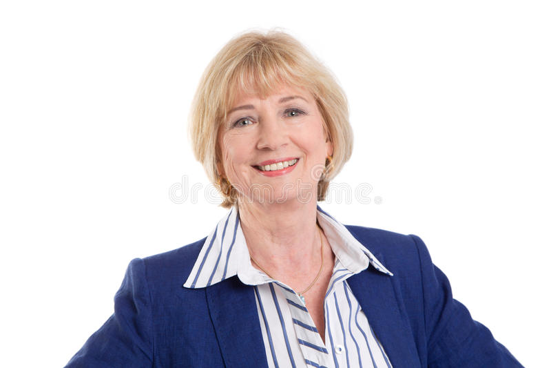 Ώριμη επιχειρησιακή γυναίκα που απομονώνεται στο άσπρο υπόβαθρο στοκ φωτογραφία με δικαίωμα ελεύθερης χρήσης