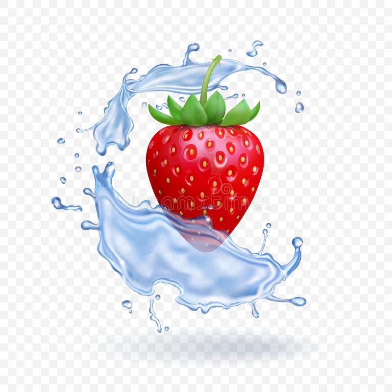 Ώριμη φρέσκια φράουλα με τον παφλασμό νερού στο διαφανές υπόβαθρο Διανυσματική τρισδιάστατη απεικόνιση ελεύθερη απεικόνιση δικαιώματος