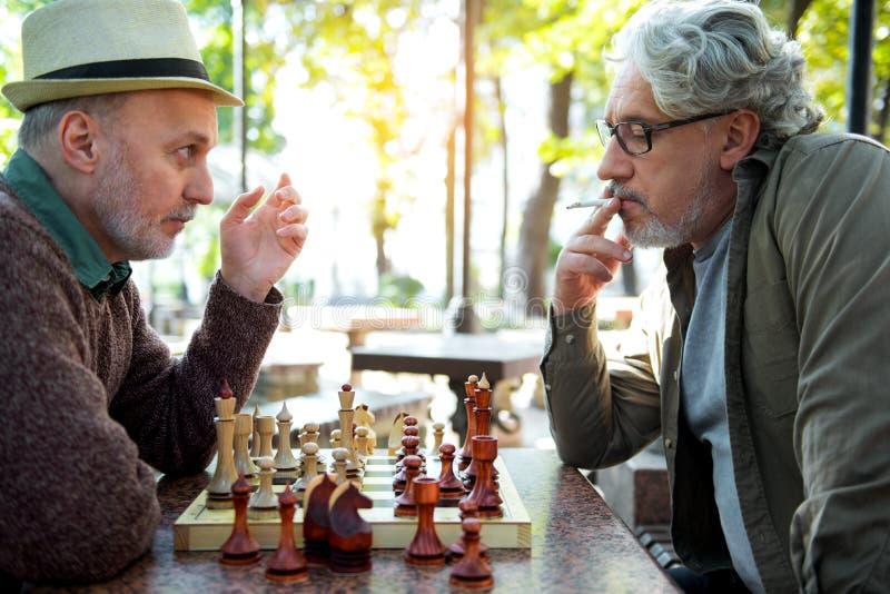 Ώριμοι αρσενικοί φίλοι που διασκεδάζουν με το παιχνίδι σκακιού στοκ φωτογραφίες με δικαίωμα ελεύθερης χρήσης
