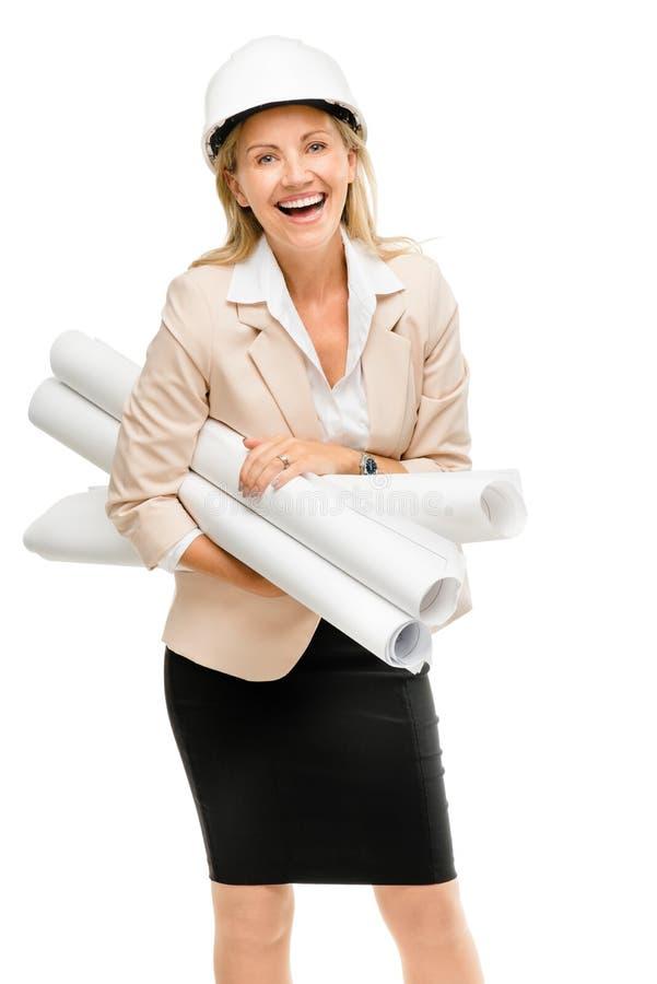 Ώριμος διευθυντής αρχιτεκτόνων επιχειρησιακών γυναικών που απομονώνεται στο άσπρο backgr στοκ εικόνες