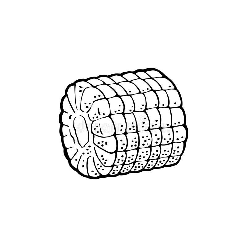 Ώριμος σπάδικας του καλαμποκιού που ξεφλουδίζεται από τα φύλλα Διανυσματική εκλεκτής ποιότητας χάραξη απεικόνιση αποθεμάτων