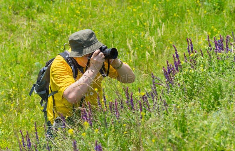 Ώριμος φωτογράφος που παίρνει μια φωτογραφία της άγριας φύσης στοκ εικόνες με δικαίωμα ελεύθερης χρήσης