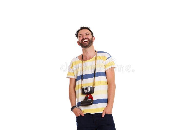 Ώριμο άτομο με μια παλαιά στάση καμερών που χαλαρώνουν στοκ εικόνες με δικαίωμα ελεύθερης χρήσης