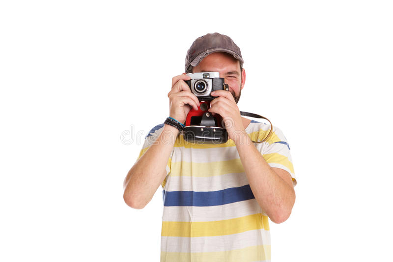 Ώριμο άτομο που παίρνει τις εικόνες με τη κάμερα στοκ φωτογραφία με δικαίωμα ελεύθερης χρήσης