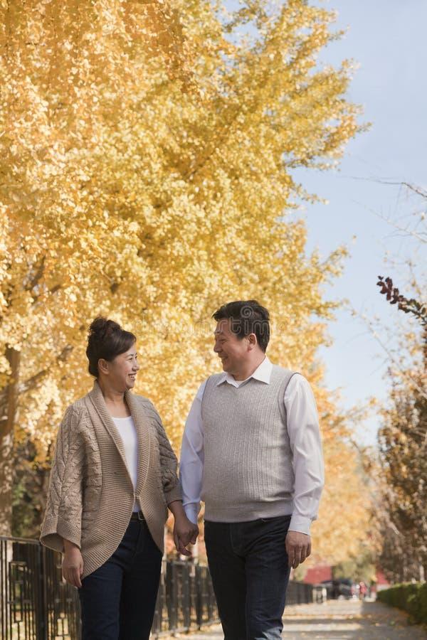 Ώριμο ζεύγος που περπατά στο πάρκο, τα χέρια εκμετάλλευσης και το χαμόγελο στοκ εικόνες
