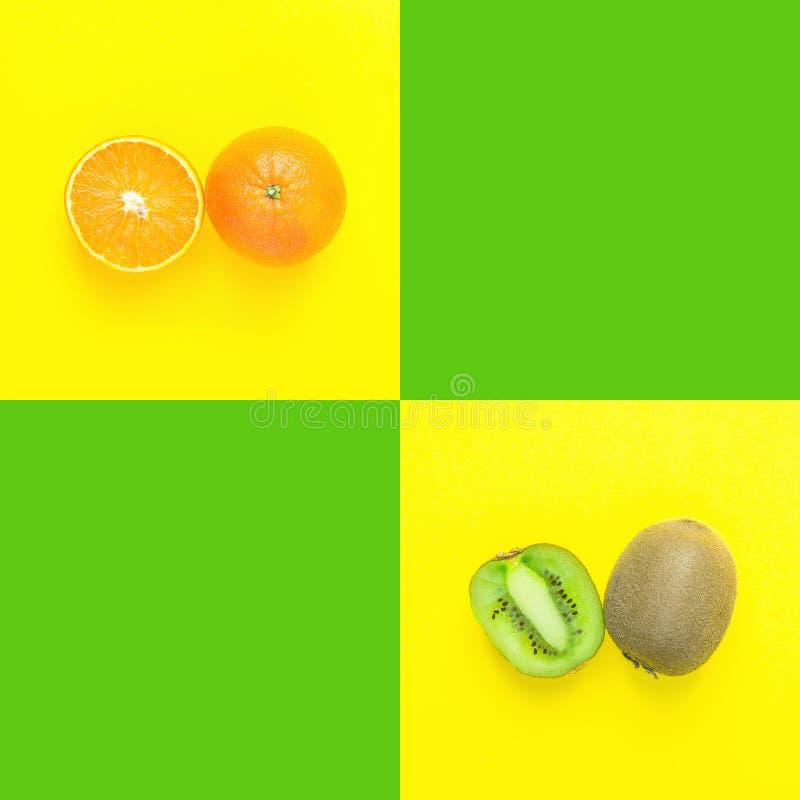 Ώριμο juicy διχοτομημένο πορτοκαλί ακτινίδιο στο φωτεινό κιτρινοπράσινο υπόβαθρο duotone με τα κενά τετράγωνα για το κείμενο r στοκ φωτογραφία με δικαίωμα ελεύθερης χρήσης
