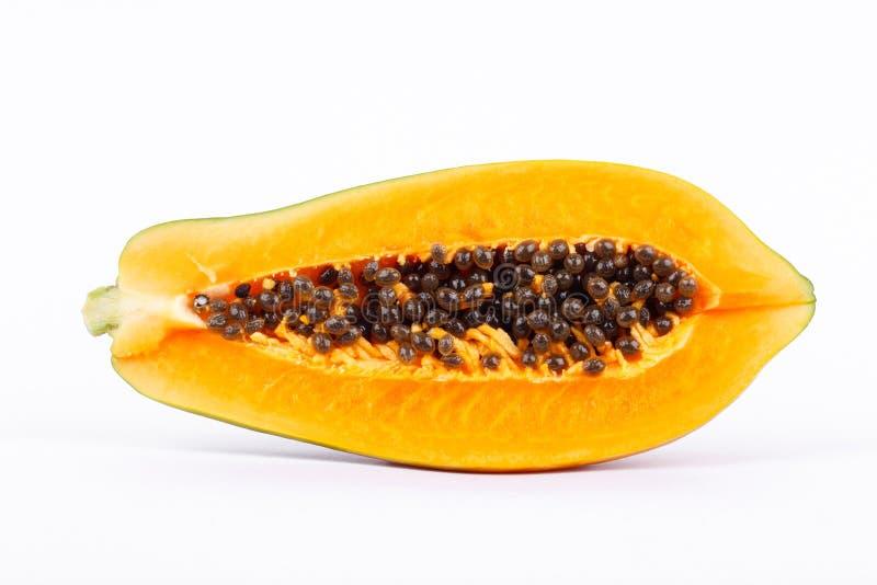 Ώριμο papaya είναι υγιή φρούτα και υψηλή θρεπτική αξία στο άσπρο υπόβαθρο στοκ φωτογραφία με δικαίωμα ελεύθερης χρήσης