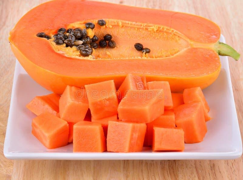 Ώριμο papaya που τεμαχίζεται στο άσπρο πιάτο στοκ φωτογραφία με δικαίωμα ελεύθερης χρήσης