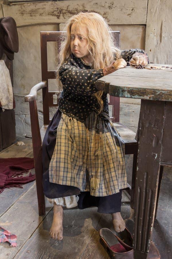 Ώρχους, Δανία - 12 Απριλίου 2015: Μεσαιωνικό φτωχό νέο κορίτσι op στοκ εικόνα με δικαίωμα ελεύθερης χρήσης