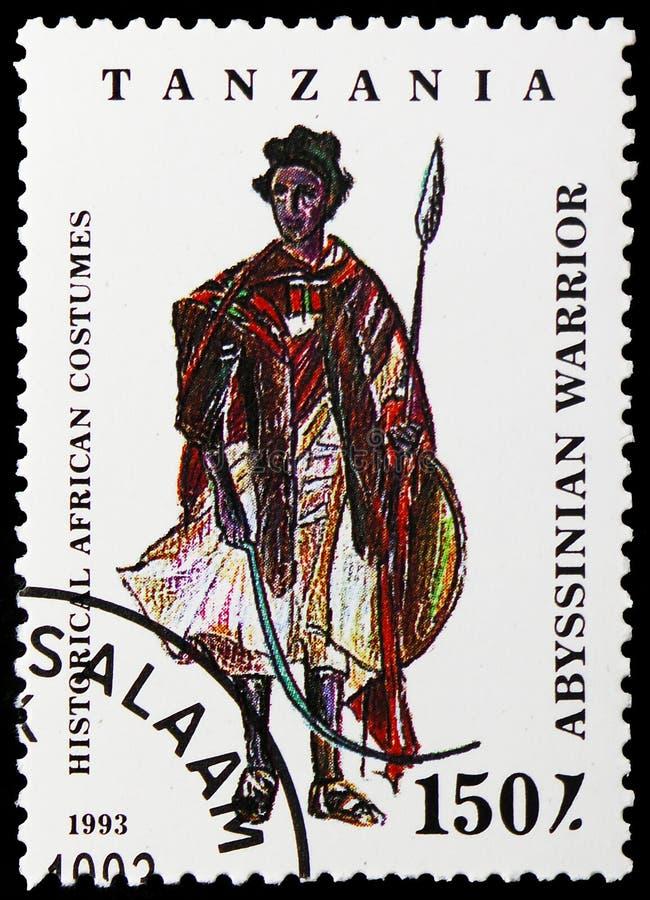 Абиссинский воин, историческое африканское serie костюмов, около 1993 стоковое изображение