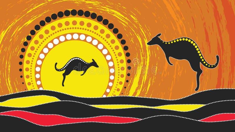 Аборигенная картина вектора искусства с кенгуру Основанный на аборигенном стиле предпосылки точки ландшафта иллюстрация вектора