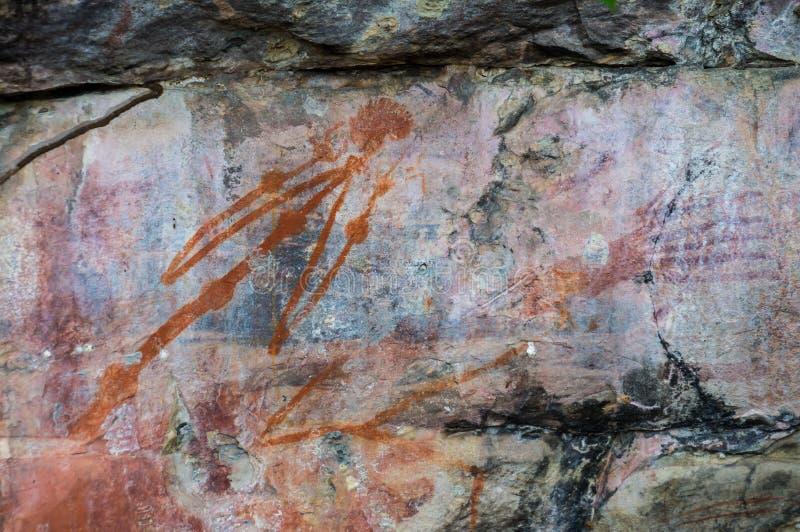 Аборигенные картины утеса, национальный парк Kakadu, северные территории, Австралия стоковая фотография