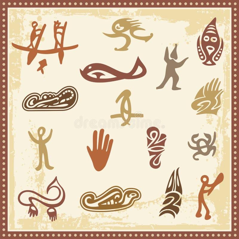 аборигенный австраец орнаментирует петроглиф иллюстрация штока