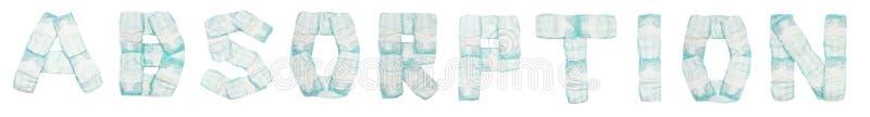 Абсорбция слова клала вне пеленки младенца на белую предпосылку, изолят, салфетку, надпись стоковое фото rf