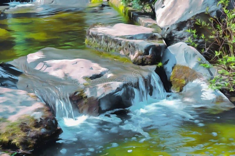 абстрактная акварель бумаги ландшафта осень раньше сделала изображением гор горы приполюсный поток иллюстрация штока