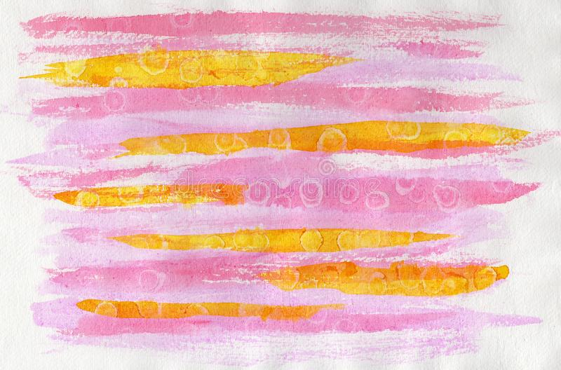 Абстрактная акварель на бумаге Пинк и желтый цвет предпосылки иллюстрация вектора