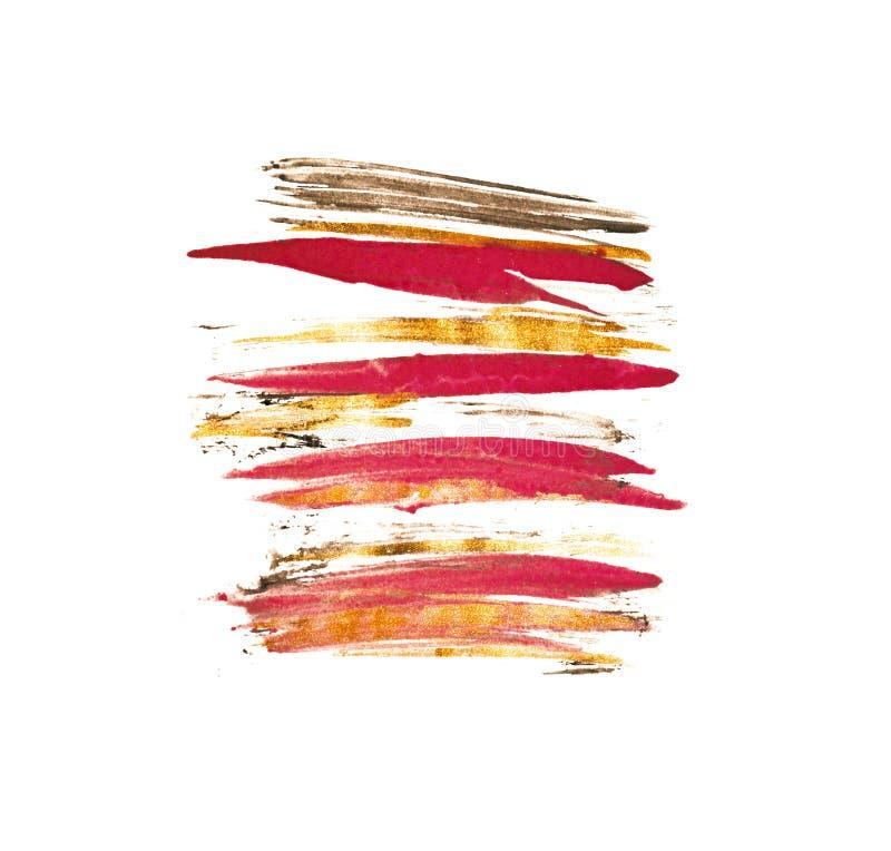Абстрактная акварель пинка, черных и золота брызгает в винтажных ностальгических цветах стоковые изображения rf