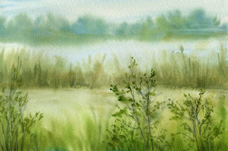 абстрактная акварель бумаги ландшафта иллюстрация штока