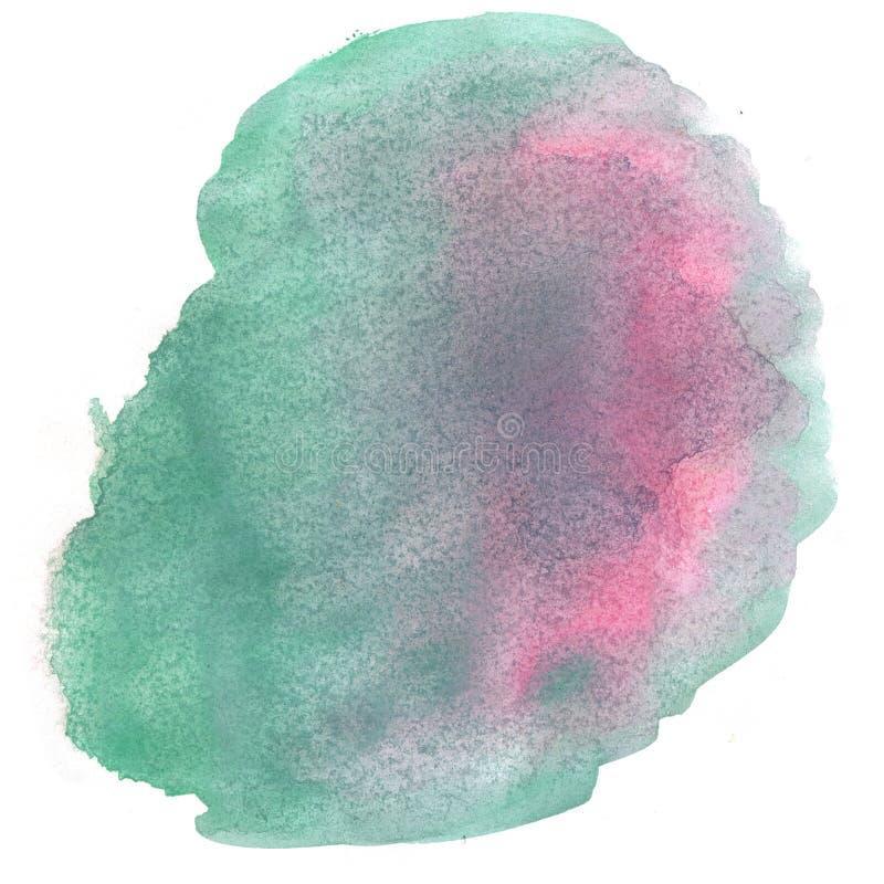 абстрактная акварель выплеска падение акварели изолировало зеленую розовую помарку для вашего искусства дизайна иллюстрация штока
