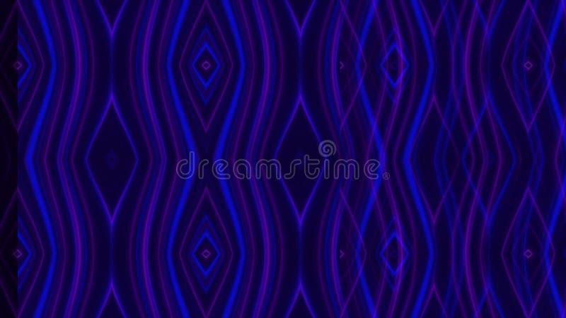 Абстрактная анимация пульсируя картин на черной предпосылке Aimation Ровные неоновые картины двигают на темную предпосылку иллюстрация вектора