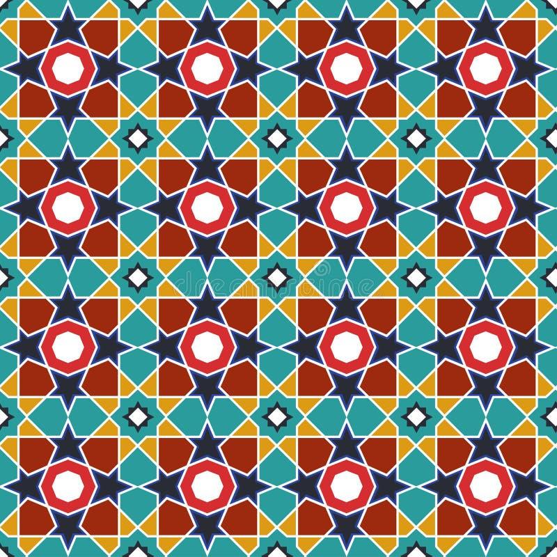 Абстрактная арабская исламская безшовная геометрическая предпосылка картины также вектор иллюстрации притяжки corel иллюстрация штока