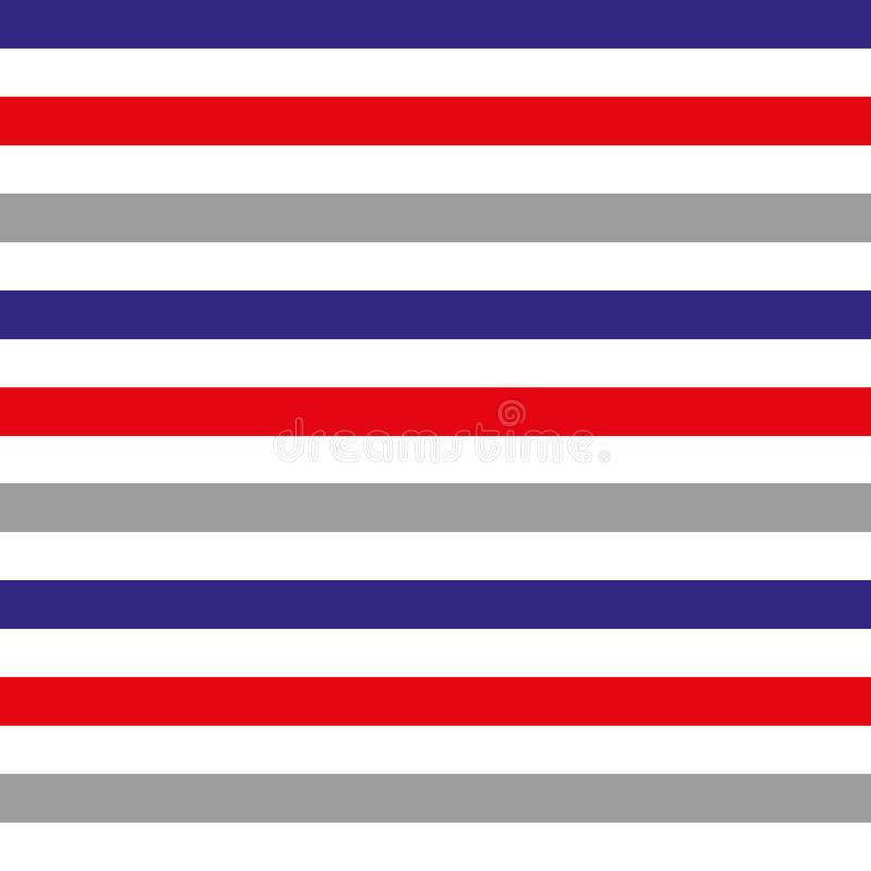 Абстрактная безшовная горизонтальная striped картина с красными, голубыми, серыми и белыми нашивками также вектор иллюстрации при иллюстрация вектора