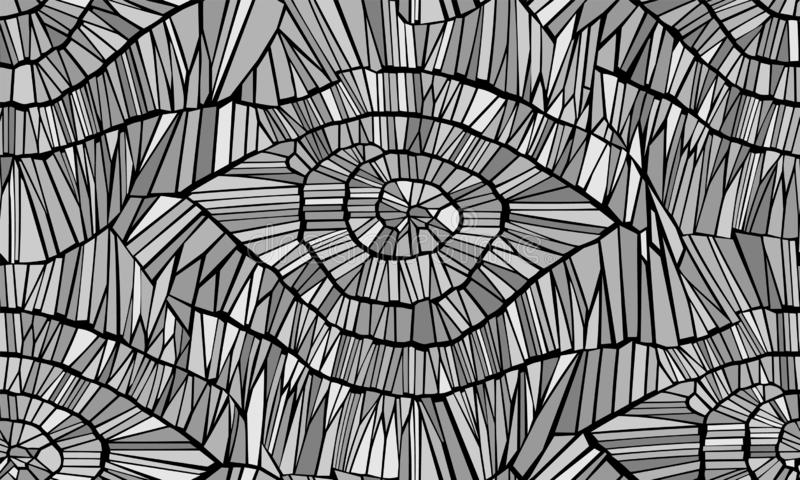 Абстрактная безшовная картина вектора Отказы, листья, вены, и древесина Черный и серый monochrome r иллюстрация вектора
