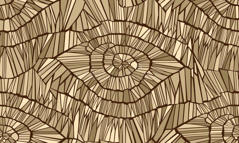 Абстрактная безшовная картина вектора Отказы, листья, вены, и древесина Желтые и бежевые цвета ( иллюстрация вектора