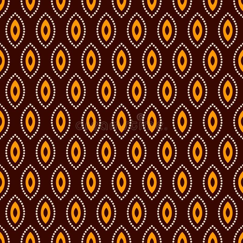 Абстрактная безшовная картина вектора Регулярное повторение бежевых, желтых геометрических форм на темной коричневой предпосылке иллюстрация вектора