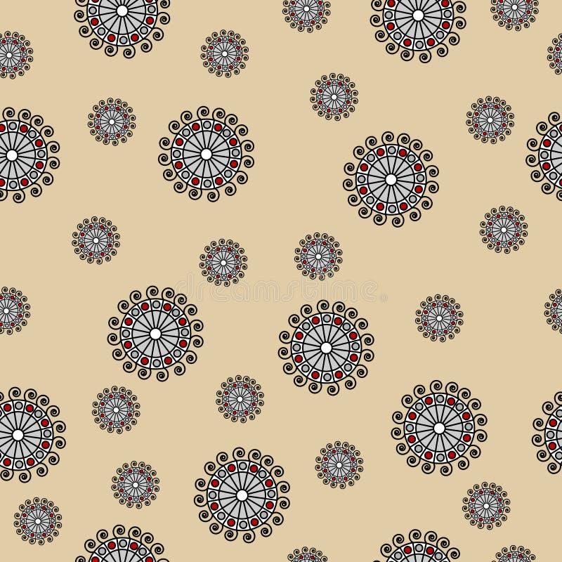 Абстрактная безшовная картина вектора с свирлями на бежевой предпосылке иллюстрация штока