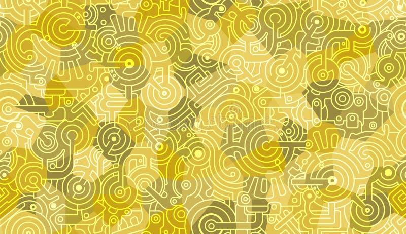 Абстрактная безшовная картина вектора r Механик, технический мотив Болты, шестерни, cogs Желтые, военные зеленый цвет и w иллюстрация штока