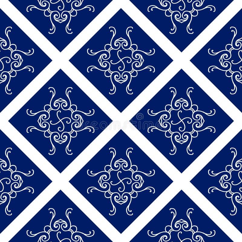 Абстрактная безшовная картина, винтажная предпосылка орнамента вектора, голубых и белых иллюстрация штока