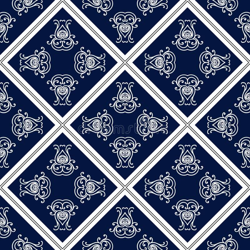 Абстрактная безшовная картина, винтажная предпосылка орнамента вектора, голубых и белых иллюстрация вектора