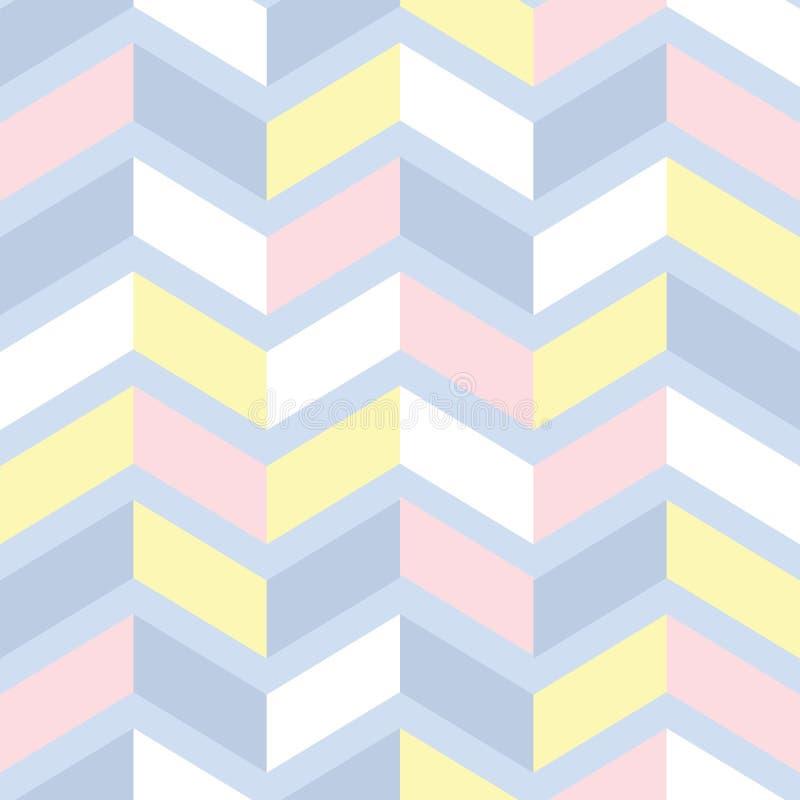 Абстрактная безшовная картина в пастельных цветах Дизайн основанный на геометрической toothed линии идя вверх и вниз, покрашенный бесплатная иллюстрация