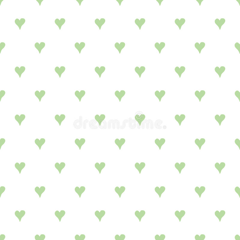 Абстрактная безшовная картина зеленого цвета вектора с сердцами нарисованными рукой иллюстрация вектора