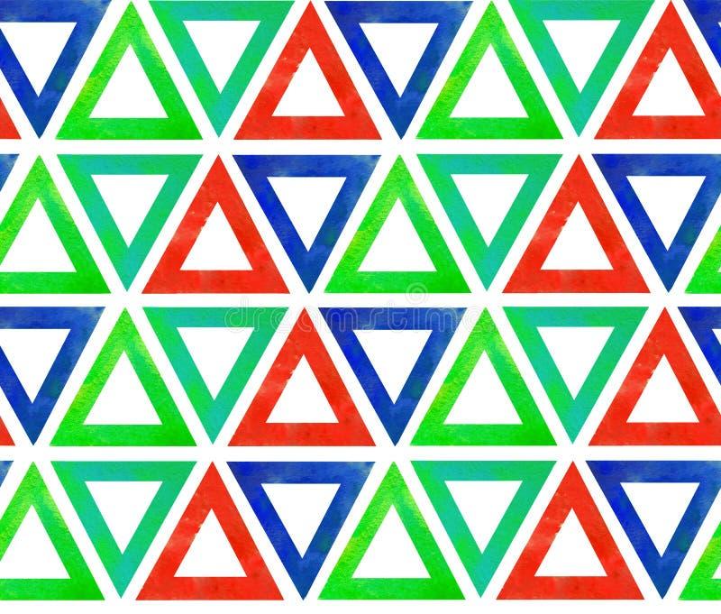 Абстрактная безшовная картина красного цвета треугольников акварели голубого зеленого на белой изолированной предпосылке иллюстрация вектора