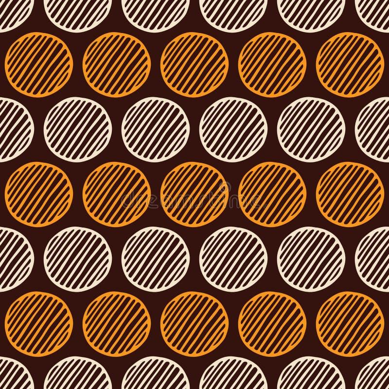 Абстрактная безшовная картина кругов руки вычерченных striped Предпосылка вектора цвета иллюстрация вектора