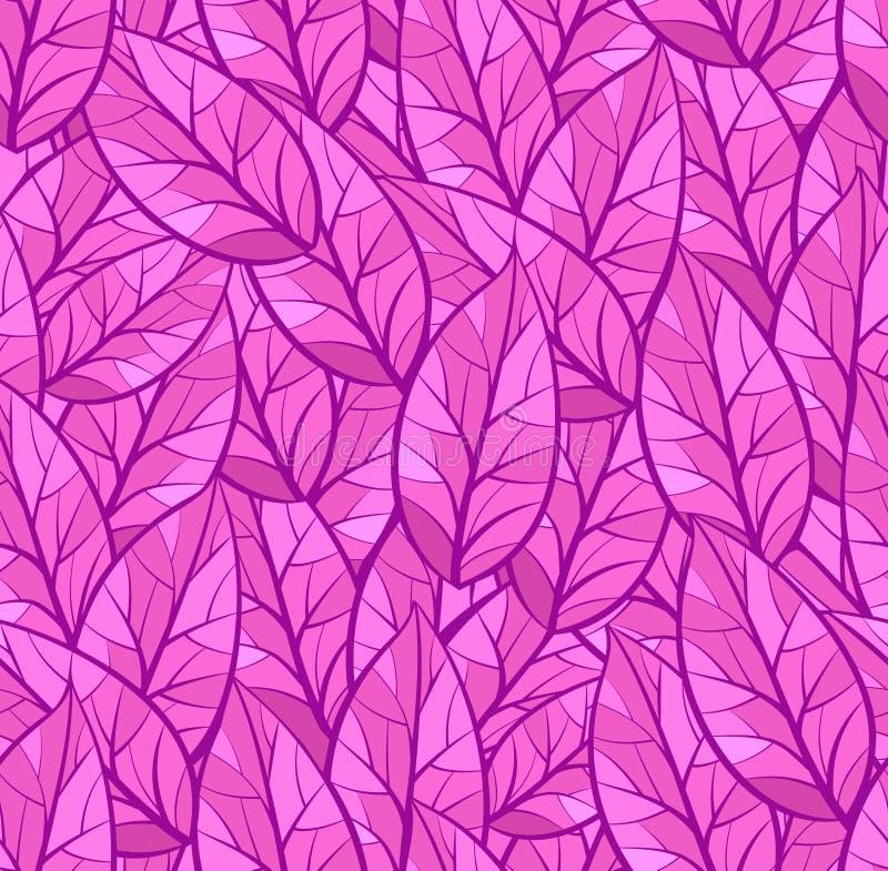 Абстрактная безшовная картина листьев Текстура предпосылки Пурпурные и розовые цвета иллюстрация вектора