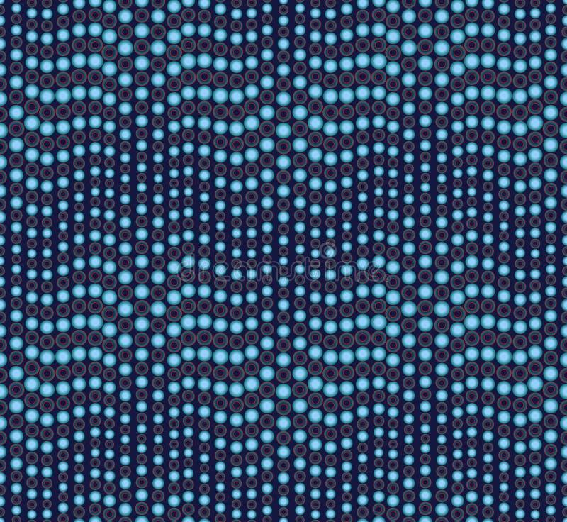 Абстрактная безшовная картина на синей предпосылке Имеет форму волны Состоит из вокруг геометрических форм иллюстрация вектора