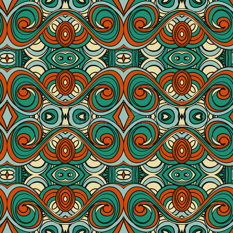 Абстрактная безшовная картина орнамента влияние калейдоскопа Этнический мотив штофа иллюстрация штока