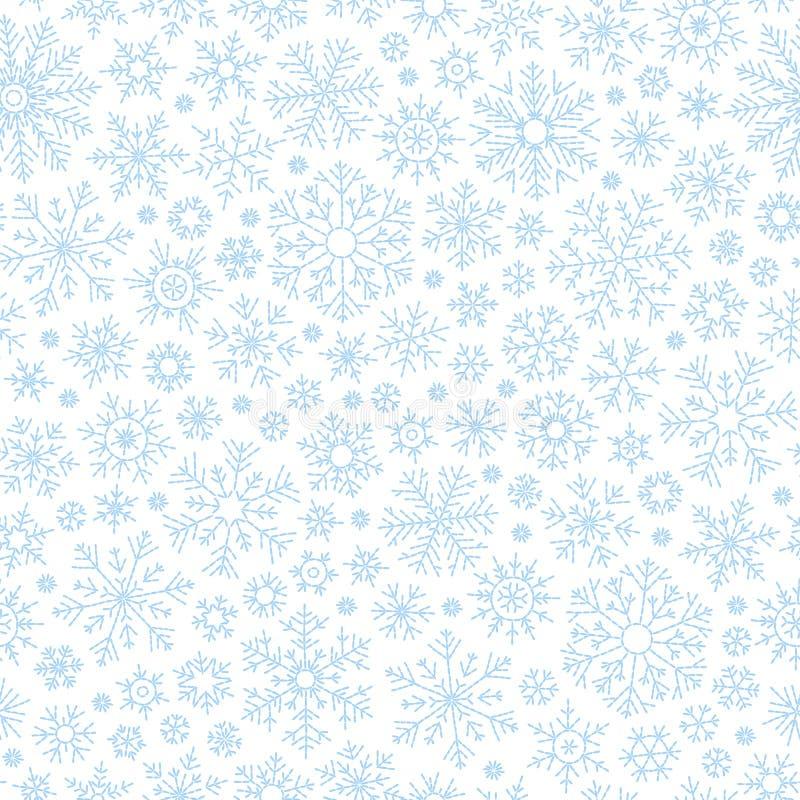 Абстрактная безшовная картина падая голубых снежинок на белой предпосылке Картина зимы для знамени, приветствия, рождества и ново иллюстрация вектора