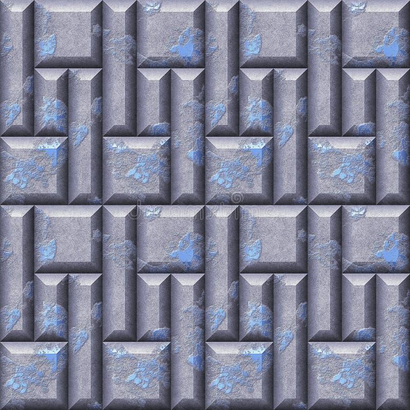 Абстрактная безшовная картина сброса серебра и сини поцарапала квадраты и скосила прямоугольники иллюстрация вектора