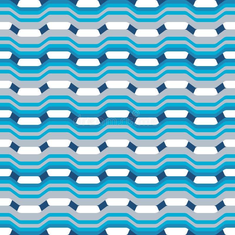Абстрактная безшовная картина с волнами и кривыми геометрических форм иллюстрация штока