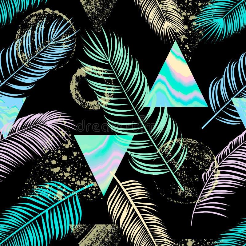Абстрактная безшовная картина с лист ладони, треугольниками, орнамент, иллюстрация штока