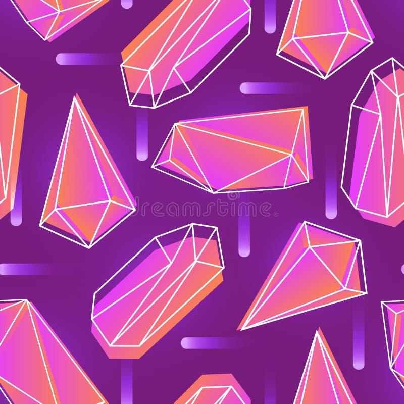 Абстрактная безшовная картина с неоном покрасила кристаллы, минералы или гранила камни и их планы на фиолетовой предпосылке иллюстрация штока
