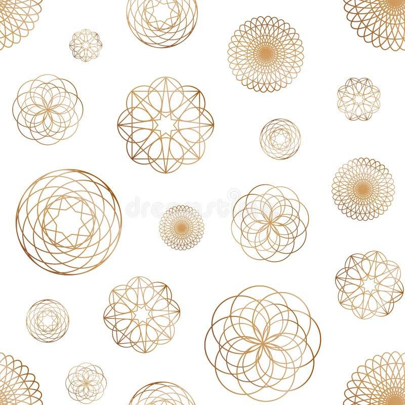 Абстрактная безшовная картина с различными круглыми геометрическими формами нарисованная с золотыми линиями контура на белой пред бесплатная иллюстрация