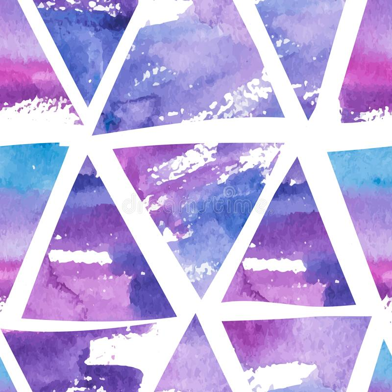 Абстрактная безшовная картина с треугольниками акварели руки вычерченными бесплатная иллюстрация