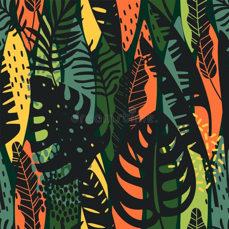 Абстрактная безшовная картина с тропическими листьями иллюстрация вектора