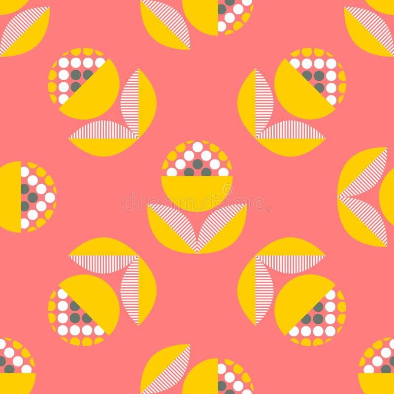 Абстрактная безшовная картина с флористическими элементами иллюстрация вектора